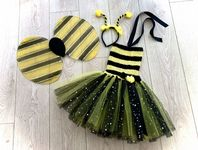 Bumblebee tutu dress costume tulle skirt wings headband set girls animal fancy dress cake  smash